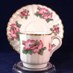 SPODE of England Demitasse Cup and Saucer Set Hibiscus and Thistle #Spode