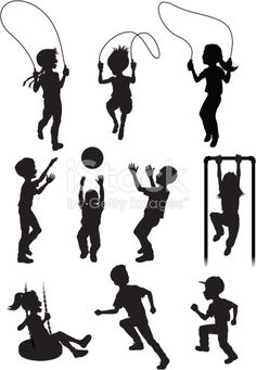 Vector illustration of silhouettes of children at play. kampagne Vector illustration of silhouettes of children at play. Letra Drop Cap, School Murals, Silhouette Clip Art, Free Vector Art, Image Now, Kids Playing, Illustration Art, Photoshop, Decoupage