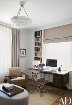 Arrayed in Fox's study are a '50s Wormley walnut-and-steel desk, an Eames desk chair from Design Within Reach, and an Art Deco club chair; the Art Deco alabaster ceiling fixture is from Chameleon Fine Lighting.