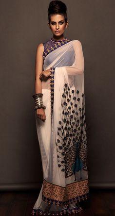 Off-white net sari with peacock design via www.perniaspopupshop.com