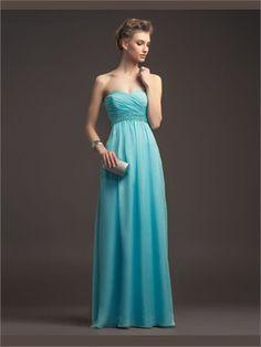 Blue Column Sweetheart Beading Sash Organza 2014 Prom Dresses