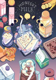 Midnight Milk, an art print by snowlattes Art And Illustration, Illustrations, Kawaii Drawings, Cute Drawings, Aesthetic Anime, Aesthetic Art, Anime Kunst, Anime Art, Arte Copic