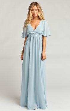 Emily Maxi Dress ~ Steel Blue Chiffon | Show Me Your Mumu