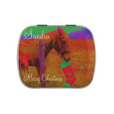 Rainbow colored, Horse and Red Christmas Bow Jelly Belly Candy Tin