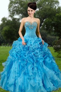 a6eca3900 Exquisite Sweetheart Ball Gown Blue Organza Quinceanera Dresses. Quinceanera  Dresses 2016Prom ColorsSweet FifteenNecklines For ...