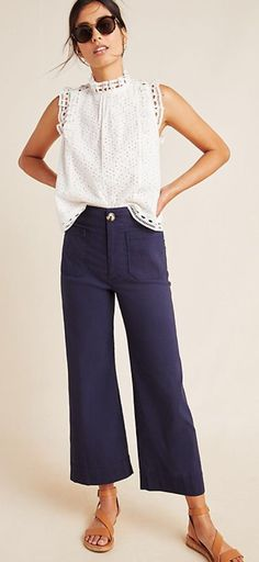 Wide Leg Cropped Pants, Wide Leg Trousers, Classy Outfits, Cute Outfits, Smart Casual Jeans Outfit, Dress Casual, Casual Pants, Winter Stil, Fall Outfits For Work