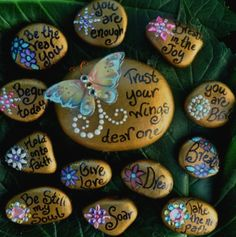 Inspiration! Pebbles with Beautiful Words!