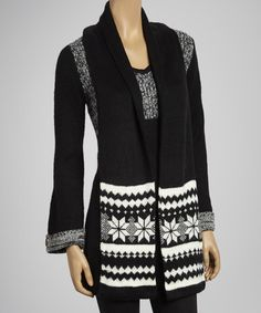 Take a look at this Black & Ivory Tunic Sweater & Scarf by Carol Rose on #zulily today!
