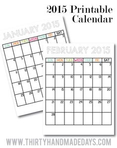 Updated Printable Calendars to coordinate with binders from thirtyhandmadedays.com