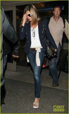 Jennifer Aniston wearing Splendid 1x1 Supima Cotton Tank in White Balmain Double Breasted Milan Stitched Blazer Oliver Peoples Pierson Rounded Wayfarer Glasses Tom Ford Jennifer Flap Over Zip Bag Pedro Garcia Temple Wep Wedges