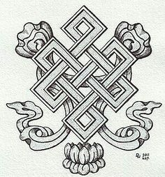 "Tibetan Knot of Eternity.The endless knot has been described as ""an ancient symbol representing the interweaving of the Spiritual path, the flowing of Time and Movement within That Which is Eternal. All existence, it says, is bound by time and change, yet ultimately rests serenely within the Divine and the Eternal."