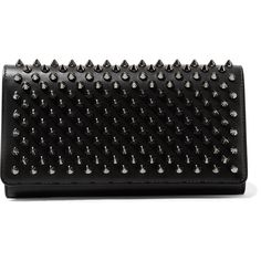 Christian Louboutin Macaron spiked leather wallet ($620) ❤ liked on Polyvore featuring bags, wallets, black, real leather wallets, zip pouch bags, leather bags, spike bag and decorating bags