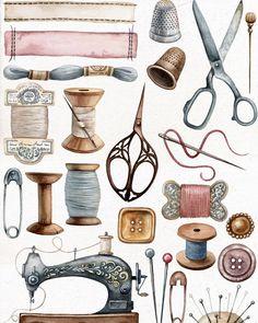 """@mari_horbachova: """"Что хорошо продаётся на Etsy? 💓 Самый частый вопрос, который я слышу. Вот один из самых продаваемых…"""" Vintage Sewing Table, Vintage Sewing Notions, Vintage Sewing Machines, Vintage Diy, Sewing Tables, Vintage Ideas, Vintage Paper, Etsy Vintage, Sewing Art"""