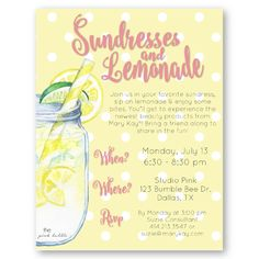 How much fun is a Mary Kay Sundresses & Lemonade Event?! Customize all the details on the invitation to make this event ALL YOURS!! Find it only at www.thepinkbubble.co!