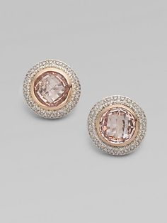 Diamond Accented 18K Rose Gold Morganite Button Earrings
