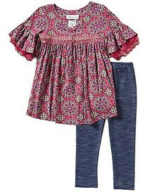 Bonnie Jean Little Girls 2T-6X Ruffle Bell Sleeve Top and Knit Denim Pants Set