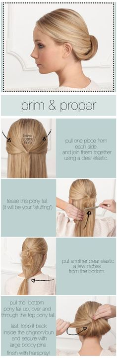 simple chignon    TOOLS:  2 clear elastics, 5-10 large bobby pins, tail comb or teasing comb, firm holding hairspray and a hand mirror.