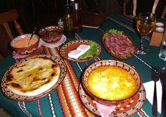 First meal in the Bulgaria countryside: Tripe soup, sheep's cheese, dried sausages, flat bread and Rakia (Bulgarian brandy).......Koprivstitsa, Bulgaria......April, 2012