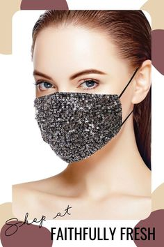 Silver Sequin, Black Sequins, Black Silver, Black Sparkle, 3d Fashion, Fashion Face Mask, Fashion Trends, Ear Loop, Special Occasion