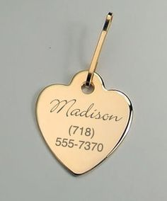 Personalized Gold Heart Pet Tag Engraved FREE for dogs & cats