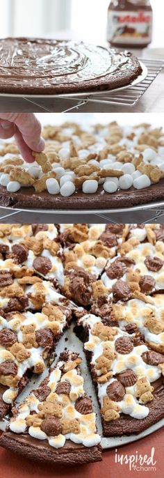 Nutella S'more Brownie Pizza - sad goodbye to boring dessert recipes and hello to this trip to delicious trip to flavortown! Don't like the nutella on it. Brownie Pizza, Nutella Pizza, Just Desserts, Delicious Desserts, Dessert Recipes, Yummy Food, Nutella Recipes, Chocolate Recipes, Dessert Pizza