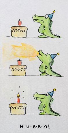 Lustige Geburtstagskarte für Kinder oder Erwachsene. #aquarell #freunde #geburtstagsgrüße #geburtstag #drachen #karten #kerzen Happy Birthday Wishes, Birthday Greetings, Funny Cards, Cute Cards, Birthday Card Drawing, Bday Cards, Happy Paintings, Happy B Day, Watercolor Cards