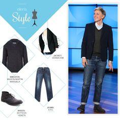 ellen degeneres fashion | Ellen's Look of the Day: button up, sweater, black blazer, jeans and ...