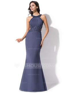 Evening Dresses - $129.99 - Trumpet/Mermaid Scoop Neck Floor-Length Chiffon Evening Dress With Ruffle Beading (017051409) http://jjshouse.com/Trumpet-Mermaid-Scoop-Neck-Floor-Length-Chiffon-Evening-Dress-With-Ruffle-Beading-017051409-g51409