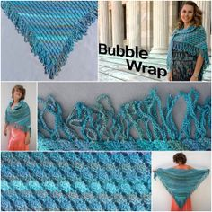 Karen Ballard's Bubble in Red Heart Boutique Unforgettable can be dressy or casual in any season! Crotchet, Knit Crochet, Crochet Ideas, Crochet Projects, Red Heart Unforgettable, Poncho Shawl, Prayer Shawl, Bubble Wrap, Clothing Items