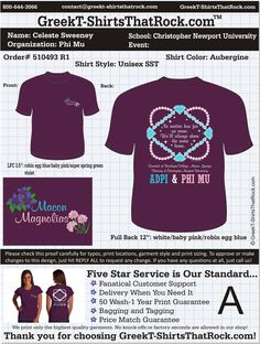 WORK  1 ON 1 with a member of our design team until your PHI MU T-Shirt idea is perfect.... and ALWAYS them on in time (before you even need them) at the price you want! ................................................... JUST CLICK THIS IMAGE TO UPLOAD YOUR IDEAS & YOU ARE DONE!!!