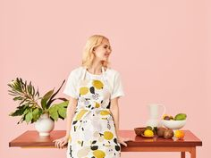 Design by Hannele Äijälä Goods And Service Tax, Goods And Services, Green Apron, Tutti Frutti, Silk Screen Printing, Olive Green, Peach, Short Sleeve Dresses, Textiles