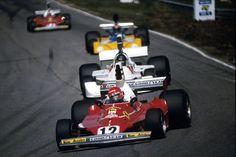 "Holland 1975, Andreas Nikolaus ""Niki"" Lauda (AUT) (Scuderia Ferrari SpA SEFAC), Ferrari 312T - Ferrari Tipo 015, 3.0 Flat-12 (finished 2nd) James Simon Wallis Hunt (GBR) (Hesketh Racing), Hesketh 308B - Ford-Cosworth DFV 3.0 V8 (finished 1st)"
