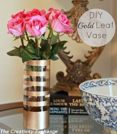 Tutorial for painting on glass {Gold Leaf Vase}