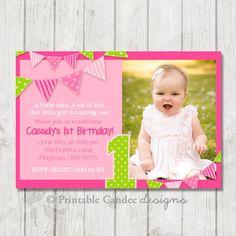 Pink and Green Bunting Birthday Invitation - DIY Custom Printable on Etsy, $10.00