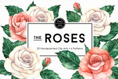 Rose Flowers Watercolor Clipart by everysunsun on @creativemarket