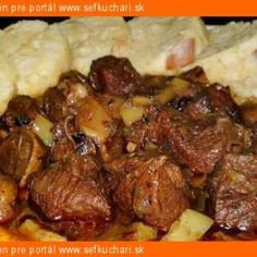 Madeira Beef Stew made with tender cuts of beef, mushrooms, garlic, rosemary and Madeira wine; then slowly simmered in a Dutch oven or crockpot. Stew, Mashed Potatoes, Crockpot, Stuffed Mushrooms, Food And Drink, Meat, Ethnic Recipes, Blue, Whipped Potatoes