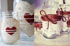 Vemos diferentes formas de decorar con tarros de cristal, sólo necesitamos un poco de pintura, cinta decorativa... Cute Candles, Mason Jar Candles, Mason Jar Crafts, Valentine Day Crafts, Valentines, Tin Can Crafts, Baby Food Jars, Valentine's Day Diy, Pots
