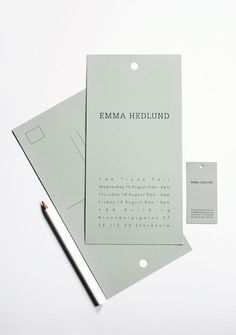 Overall graphic concept and brand identity for fashion designer Emma Hedlund's graduate collection, including a lookbook, invites, business cards and hangtags by Ah! Studio