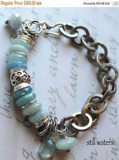 bracelet fluorite bracelet aquamarine bracelet blue