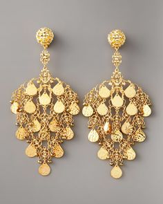 Jose & Maria Barrera  Gold Filigree Chandelier Earrings
