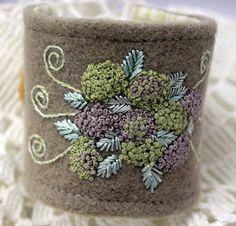 Hydrangeas Hand Embroidered Cuff Bracelet by Waterrose on Etsy
