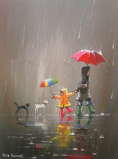 Quotes Discover Cute rain art by Pete Rumney Street Art Busy Street Rain Street Rain Art Umbrella Art Umbrella Painting Walking In The Rain Acrylic Art Dog Art Art And Illustration, Art Mignon, Rain Art, Umbrella Art, Umbrella Painting, Inspiration Art, Acrylic Art, Cute Art, Painting & Drawing