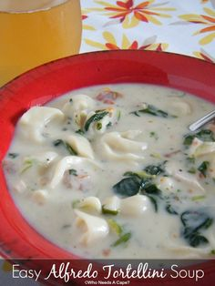 Easy Alfredo Tortellini Soup   Who Needs A Cape? A wonderful soup that takes no time to make, it just tastes like you've been in the kitchen all day.