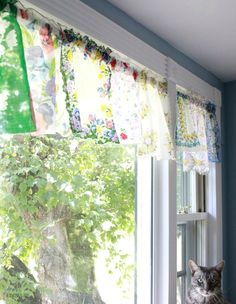 A collection of ways to repurpose vintage handkerchiefs like this valance from Flamingo Toes