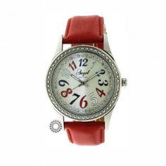 Γυναικείο μοντέρνο ρολόι quartz ANGEL με χαρούμενο χρωματιστό καντράν & κόκκινο λουρί | Οικονομικά ρολόγια ANGEL στο κατάστημα ΤΣΑΛΔΑΡΗΣ στο Χαλάνδρι #angel #κοκκινο #δερμα #γυναικειο #ρολοι Tommy Hilfiger, Watches, Leather, Accessories, Fashion, Moda, Fashion Styles, Clocks, Clock