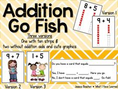 Addition Go Fish includes video of students playing. Love the sentence frames students use and the additional recording sheet.