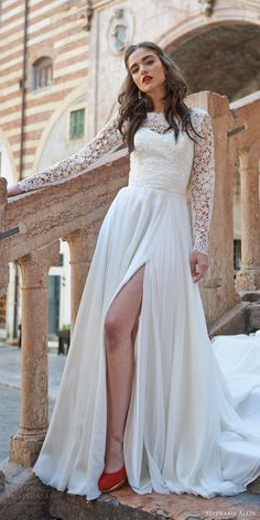 stephanie allin bridal 2017 strapless sweetheart aline wedding dress slit skirt (liliana with lucerne top) fv