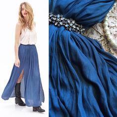"HP! • Forever 21 • Blue Pleated Maxi Skirt This versatile flowy pleated maxi skirt features two slits. Style it boho chic or dreamy for date night. ✨ Elastic waist measures 13.5 inches unstretched, length 40 inches. Lined. NWOT. I'm 5'1"" and this was a little too long and loose for me, though I could have made it work with heels.  Bundle to save 15%! Forever 21 Skirts Maxi"