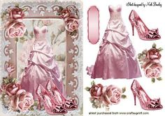 PINK PARTY DRESS WITH SPARKLE SHOES IN ROSE FRAME on Craftsuprint designed by Nick Bowley - PINK PARTY DRESS WITH SPARKLE SHOES IN ROSE FRAME, Makes a pretty card - Now available for download!
