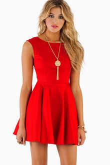 Tobi-Red Celia Skater Dress
